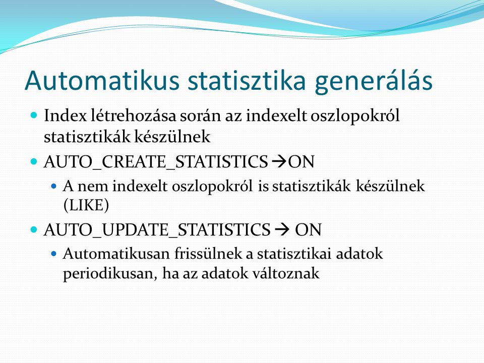 Automatikus statisztika generálás