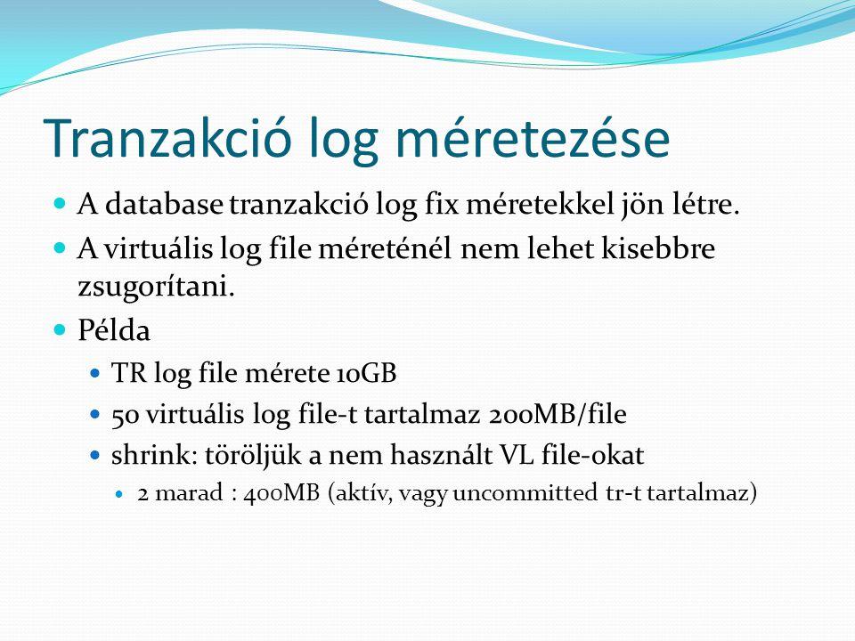 Tranzakció log méretezése