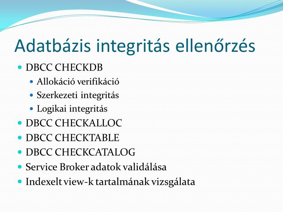 Adatbázis integritás ellenőrzés
