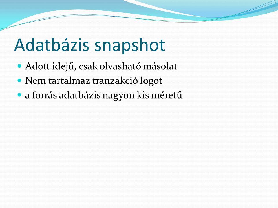 Adatbázis snapshot Adott idejű, csak olvasható másolat