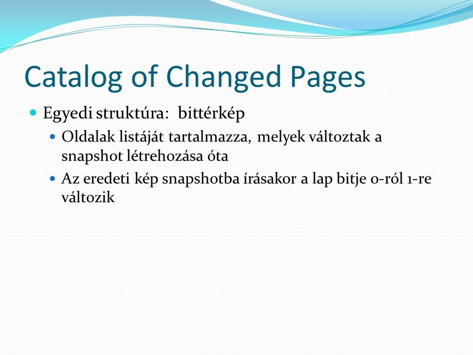 Catalog of Changed Pages