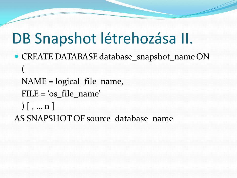 DB Snapshot létrehozása II.