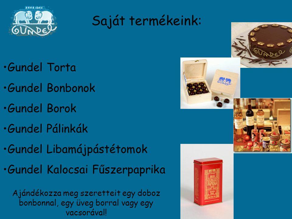 Saját termékeink: Gundel Torta Gundel Bonbonok Gundel Borok