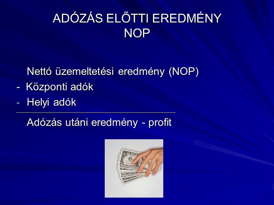 ADÓZÁS ELŐTTI EREDMÉNY NOP