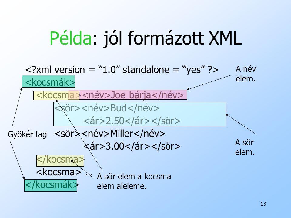 Példa: jól formázott XML