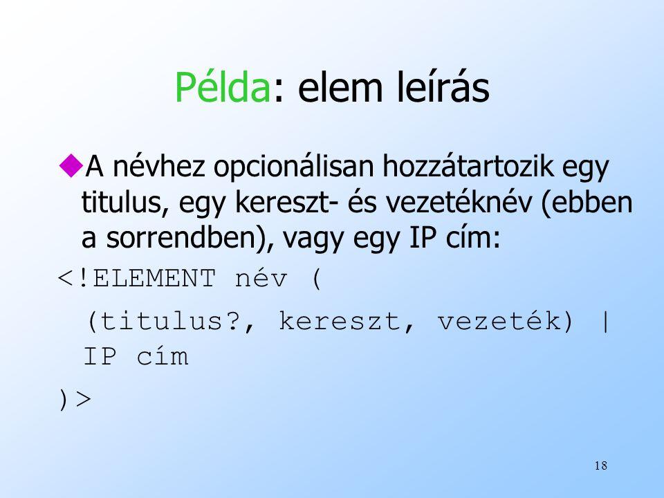 Példa: elem leírás A névhez opcionálisan hozzátartozik egy titulus, egy kereszt- és vezetéknév (ebben a sorrendben), vagy egy IP cím: