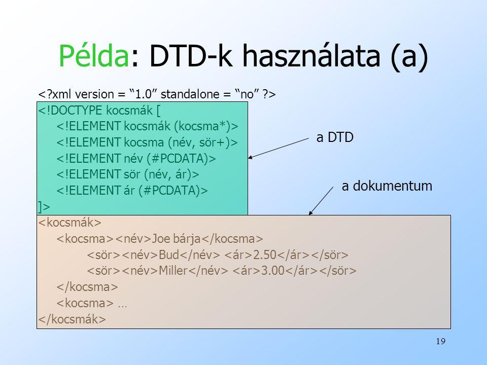 Példa: DTD-k használata (a)