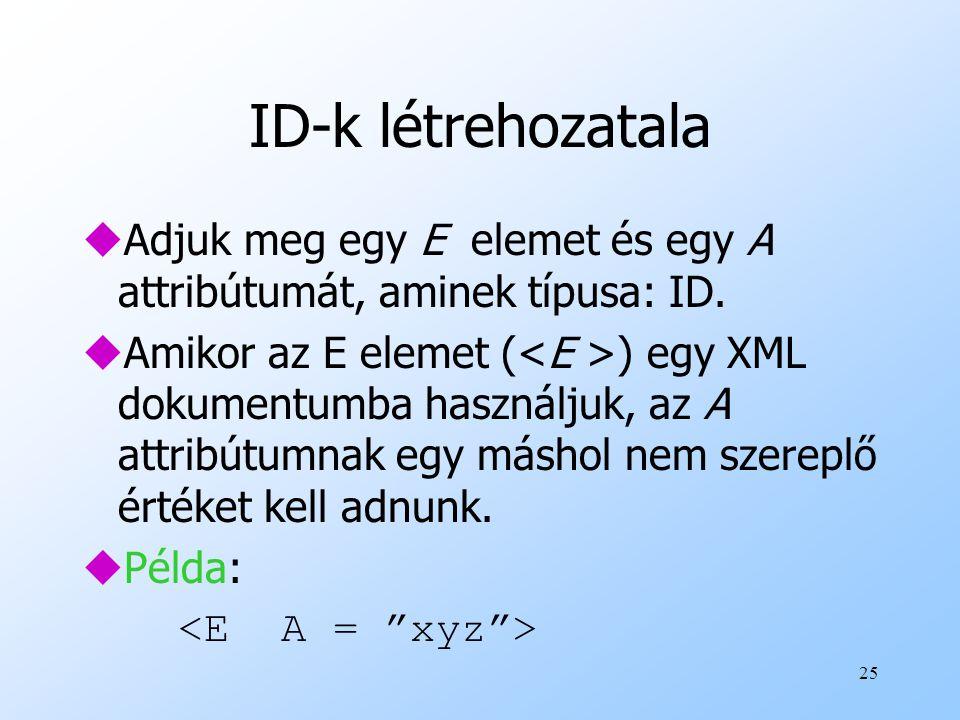 ID-k létrehozatala Adjuk meg egy E elemet és egy A attribútumát, aminek típusa: ID.