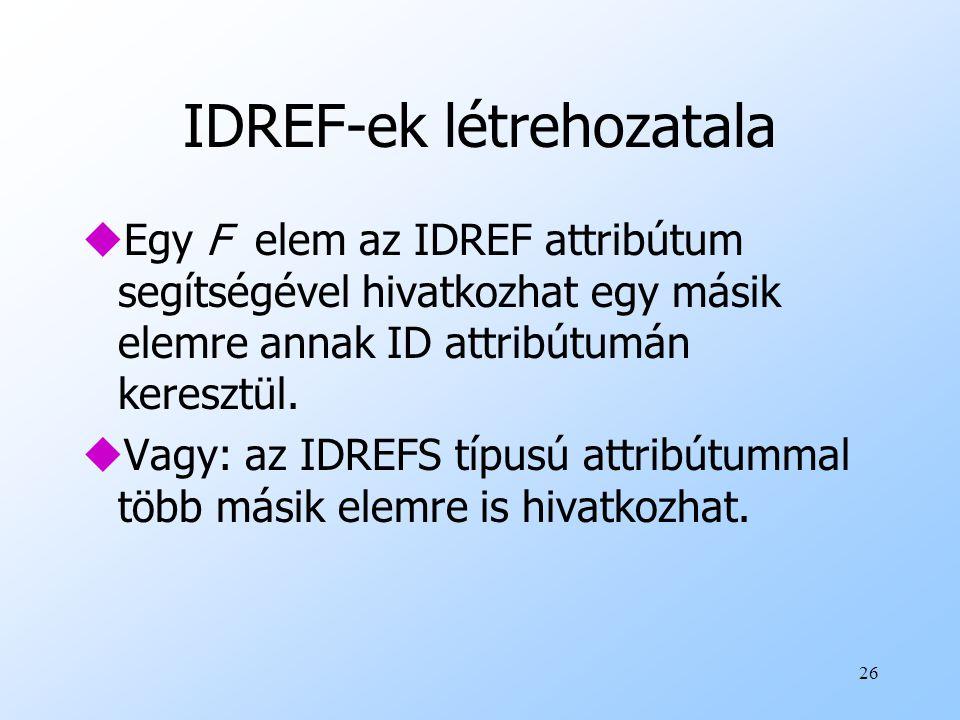 IDREF-ek létrehozatala