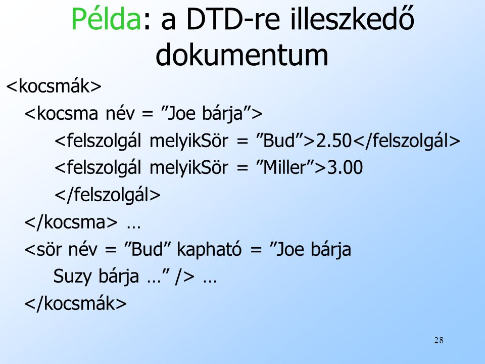 Példa: a DTD-re illeszkedő dokumentum