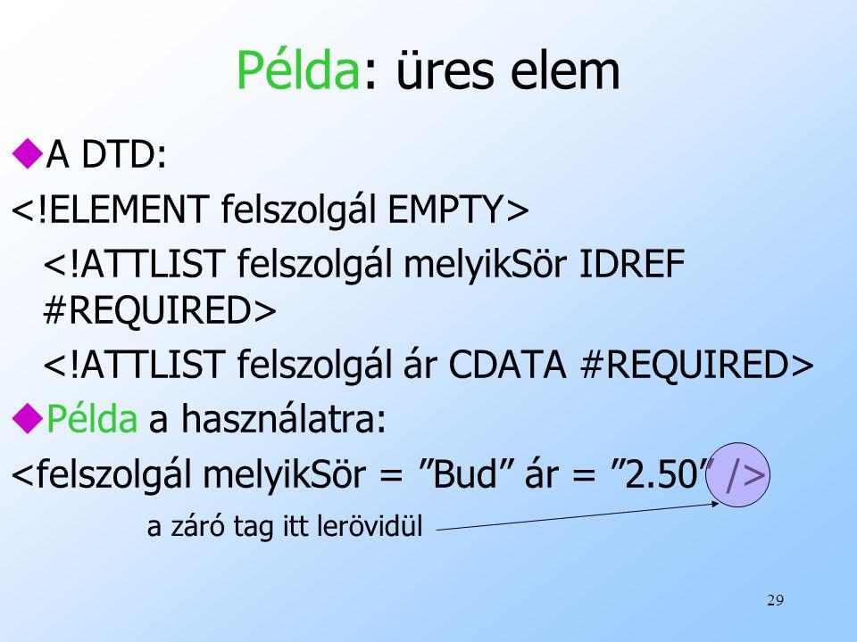Példa: üres elem A DTD: <!ELEMENT felszolgál EMPTY>