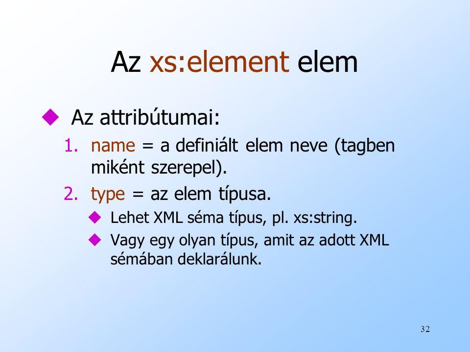 Az xs:element elem Az attribútumai: