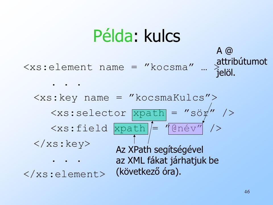 Példa: kulcs <xs:element name = kocsma … > . . .