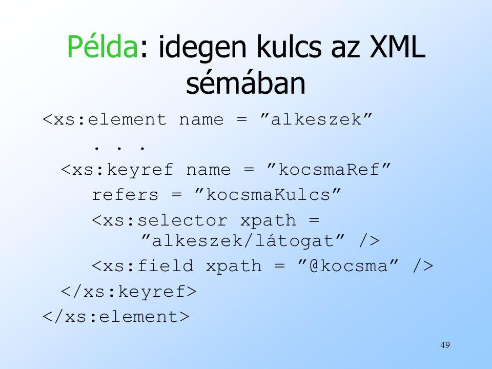 Példa: idegen kulcs az XML sémában