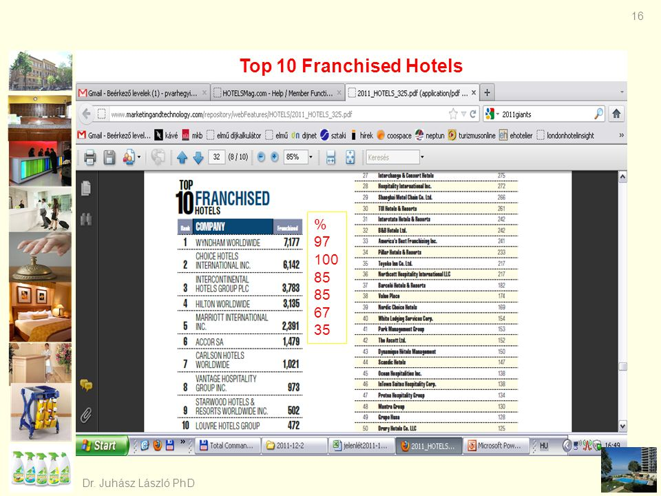 Top 10 Franchised Hotels % 97 100 85 67 35 Dr. Juhász László PhD