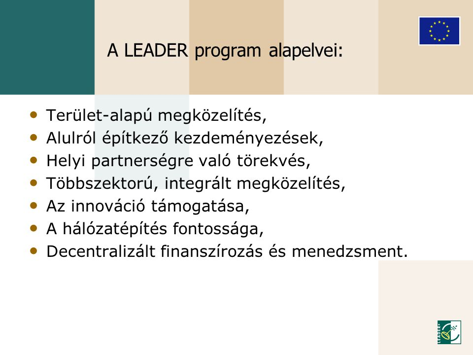 A LEADER program alapelvei: