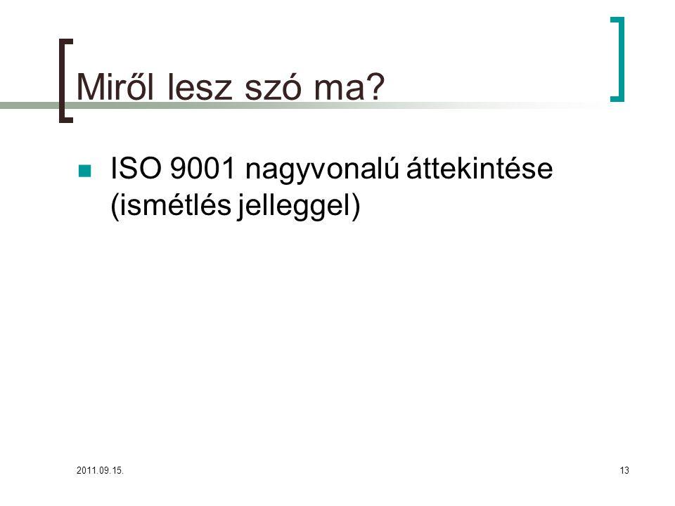 Miről lesz szó ma ISO 9001 nagyvonalú áttekintése (ismétlés jelleggel) 2011.09.15.