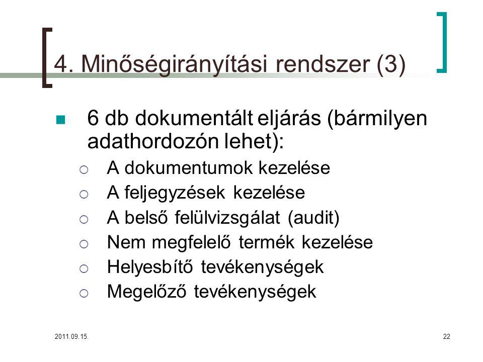 4. Minőségirányítási rendszer (3)