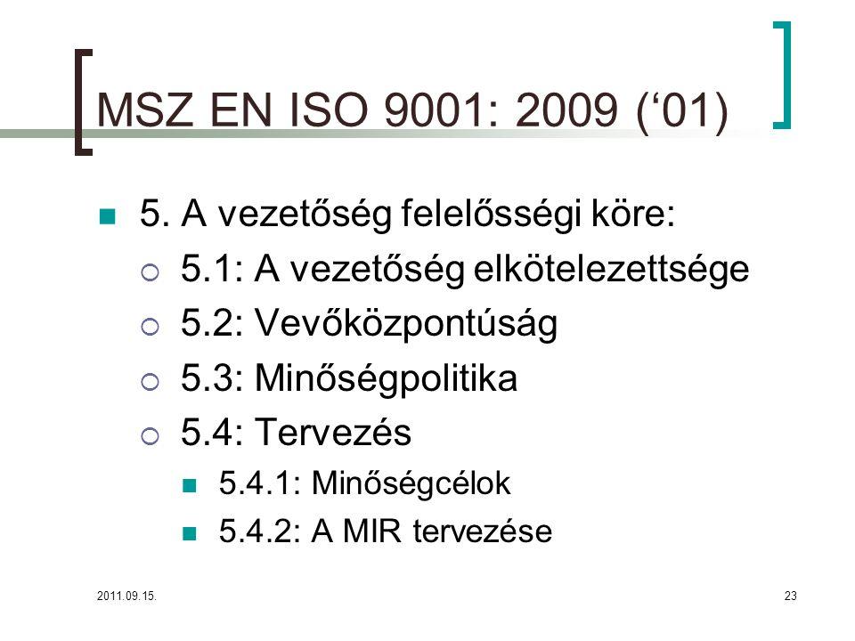 MSZ EN ISO 9001: 2009 ('01) 5. A vezetőség felelősségi köre:
