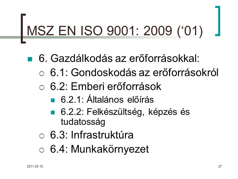 MSZ EN ISO 9001: 2009 ('01) 6. Gazdálkodás az erőforrásokkal: