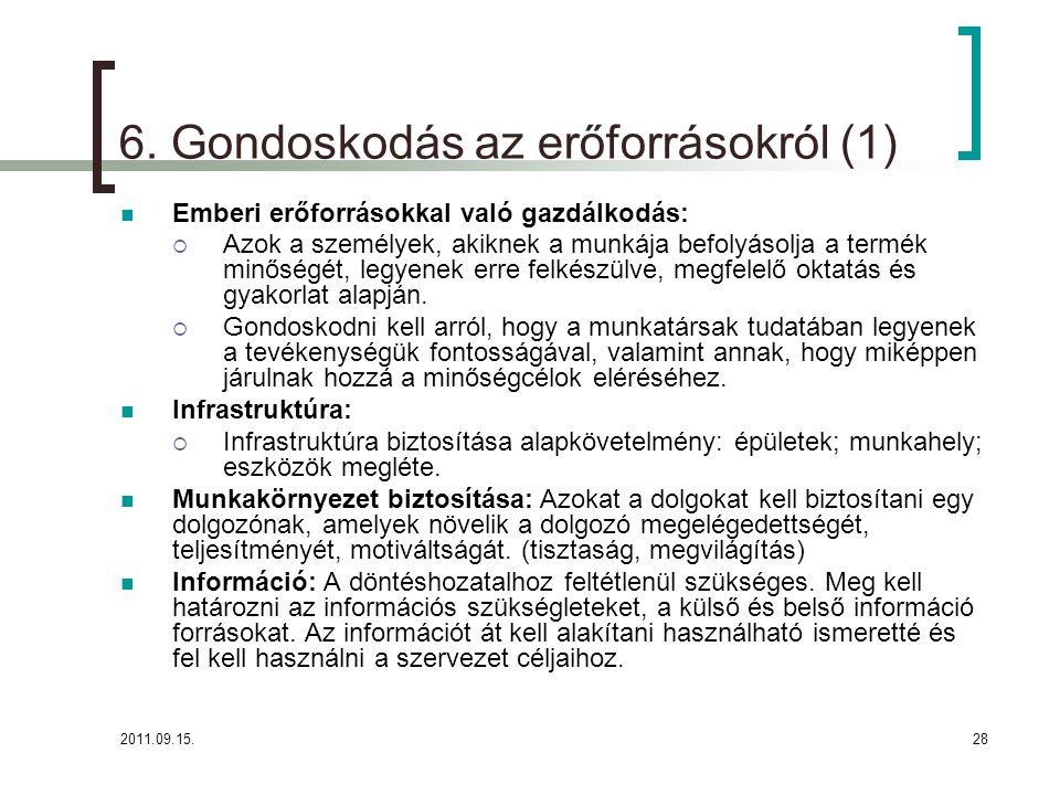 6. Gondoskodás az erőforrásokról (1)