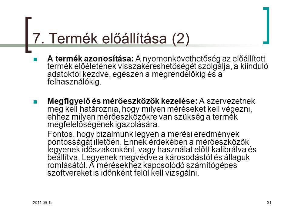 7. Termék előállítása (2)