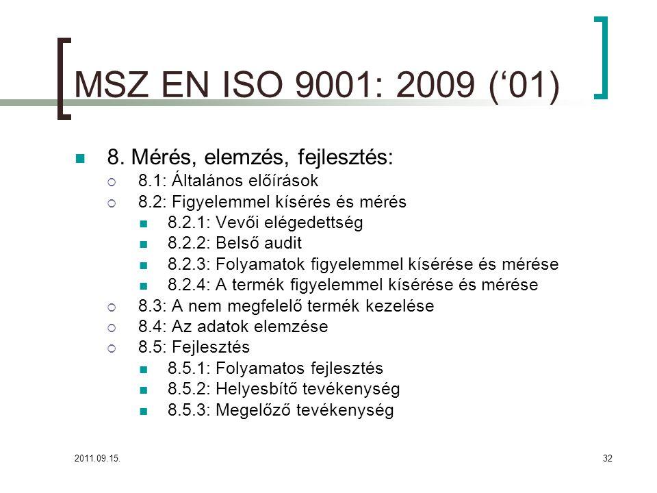 MSZ EN ISO 9001: 2009 ('01) 8. Mérés, elemzés, fejlesztés: