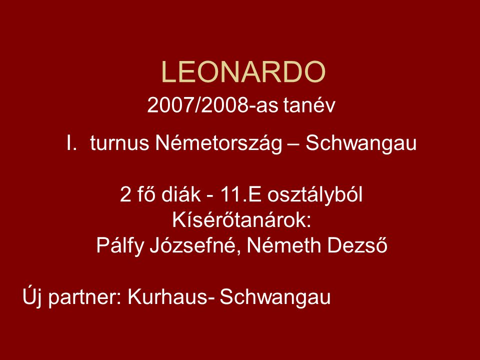 LEONARDO 2007/2008-as tanév turnus Németország – Schwangau