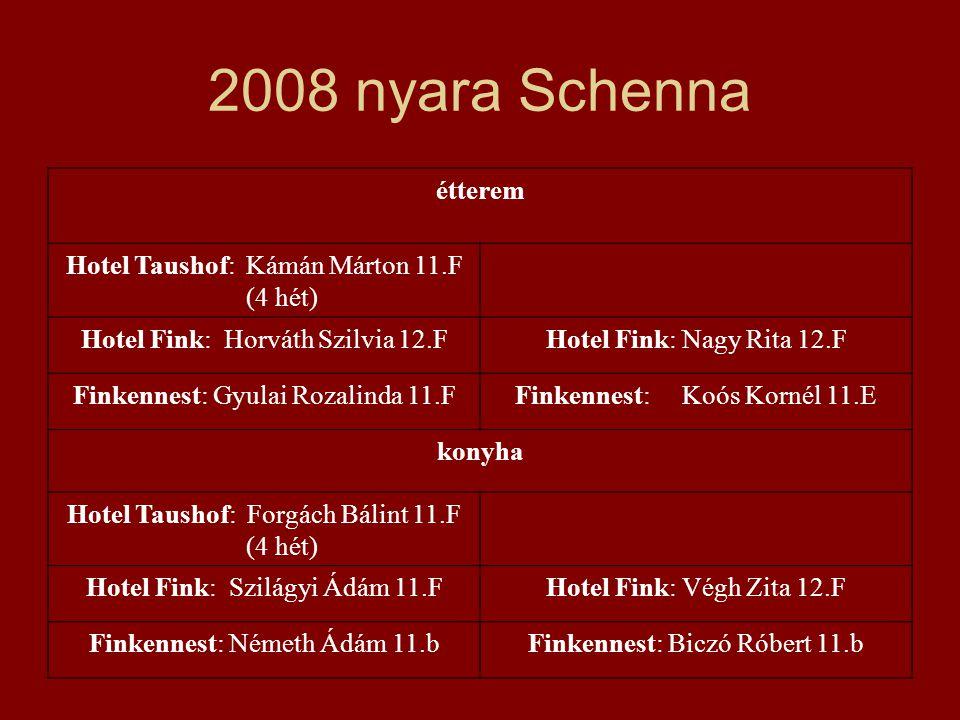2008 nyara Schenna étterem Hotel Taushof: Kámán Márton 11.F (4 hét)