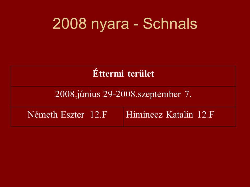 2008 nyara - Schnals Éttermi terület 2008.június 29-2008.szeptember 7.