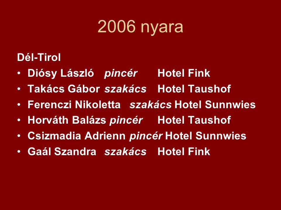 2006 nyara Dél-Tirol Diósy László pincér Hotel Fink