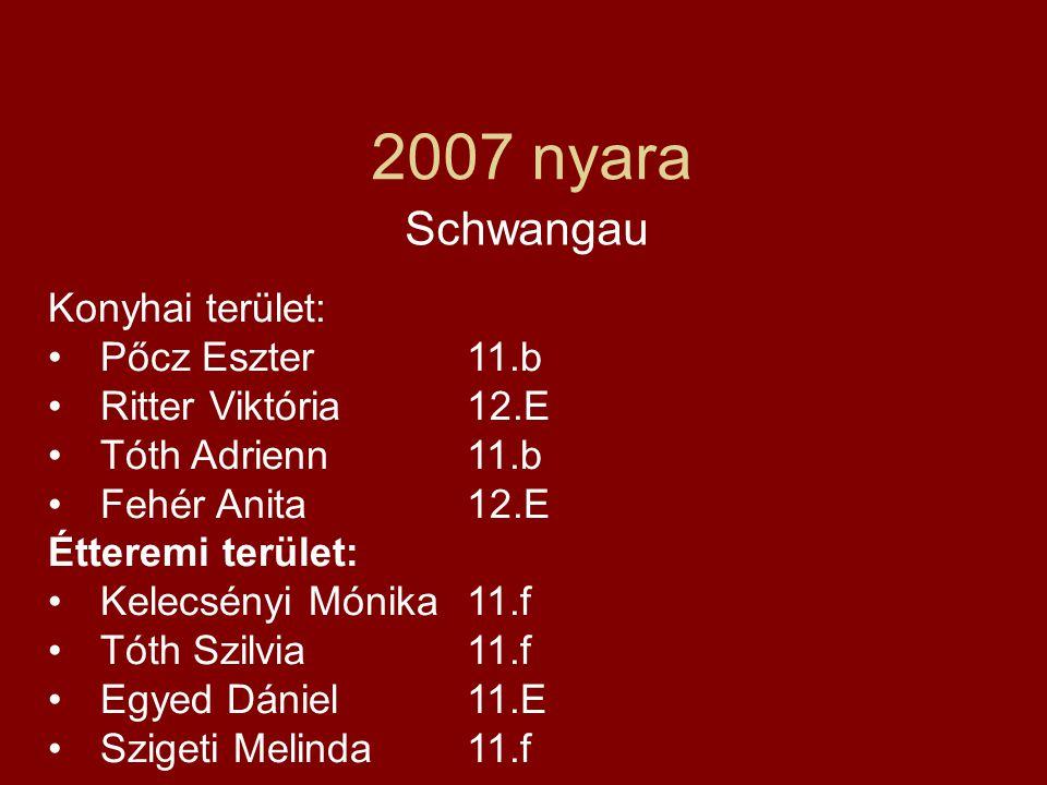 2007 nyara Schwangau Konyhai terület: Pőcz Eszter 11.b