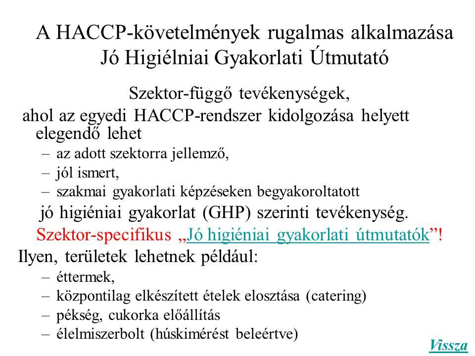 A HACCP-követelmények rugalmas alkalmazása Jó Higiélniai Gyakorlati Útmutató