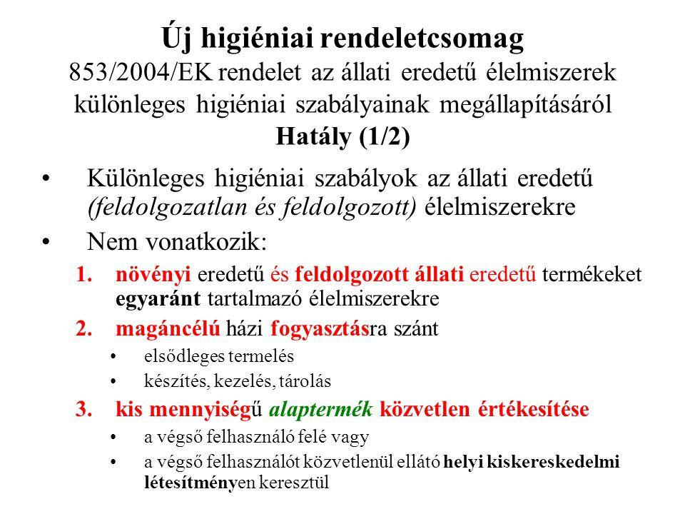 Új higiéniai rendeletcsomag 853/2004/EK rendelet az állati eredetű élelmiszerek különleges higiéniai szabályainak megállapításáról Hatály (1/2)