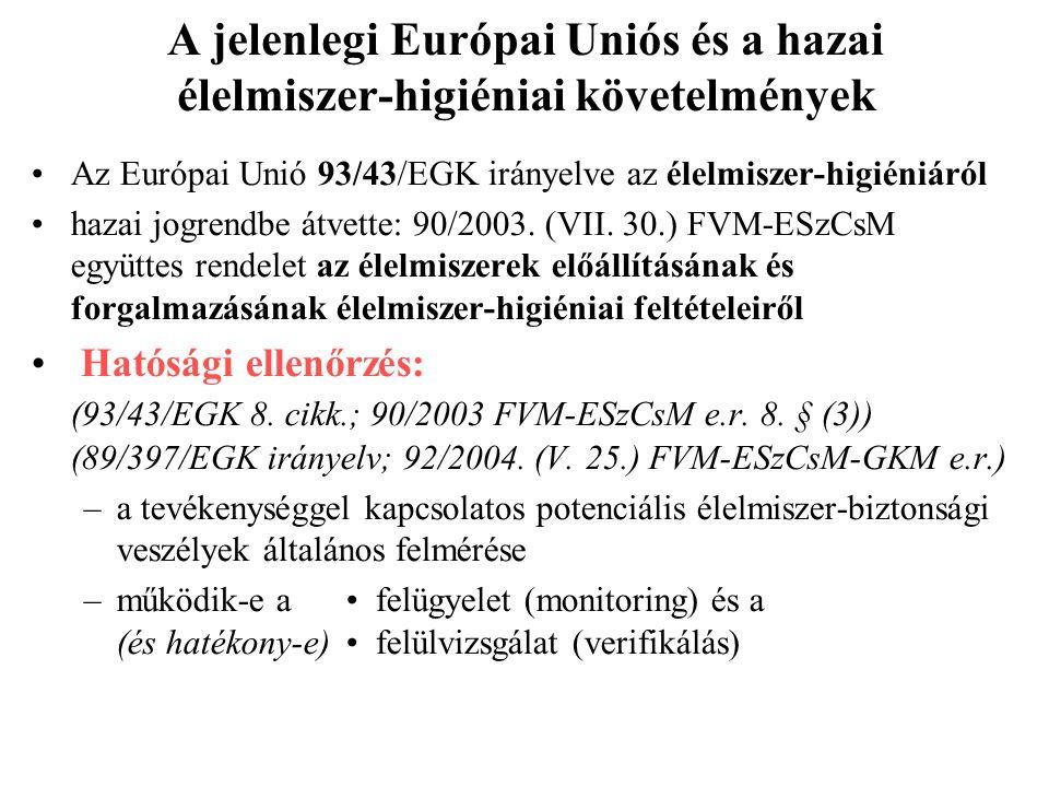 A jelenlegi Európai Uniós és a hazai élelmiszer-higiéniai követelmények