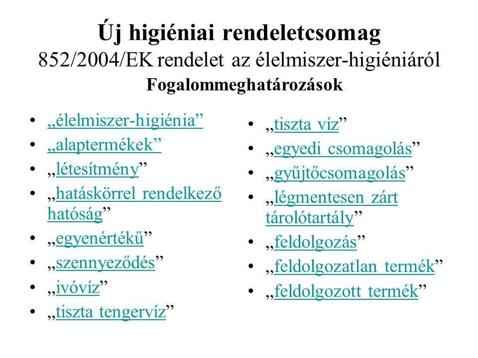 Új higiéniai rendeletcsomag 852/2004/EK rendelet az élelmiszer-higiéniáról