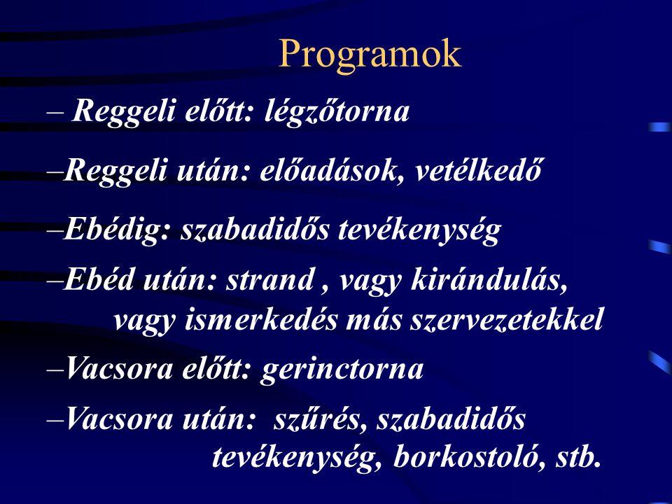 Programok Reggeli előtt: légzőtorna Reggeli után: előadások, vetélkedő