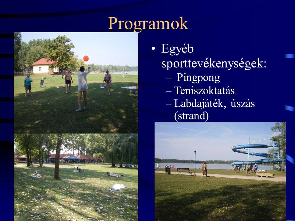 Programok Egyéb sporttevékenységek: Pingpong Teniszoktatás