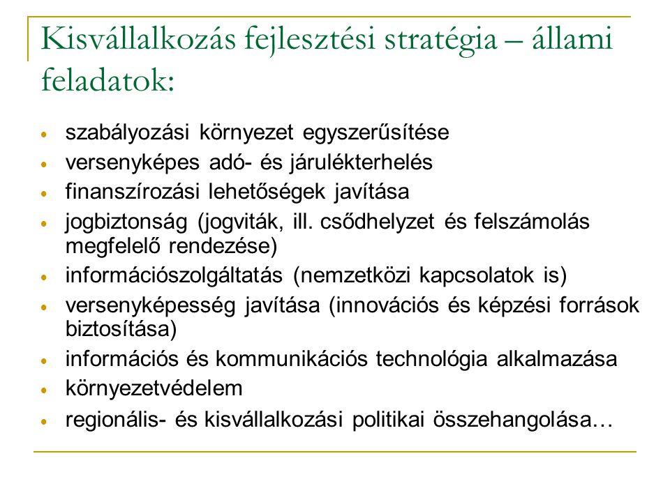 Kisvállalkozás fejlesztési stratégia – állami feladatok: