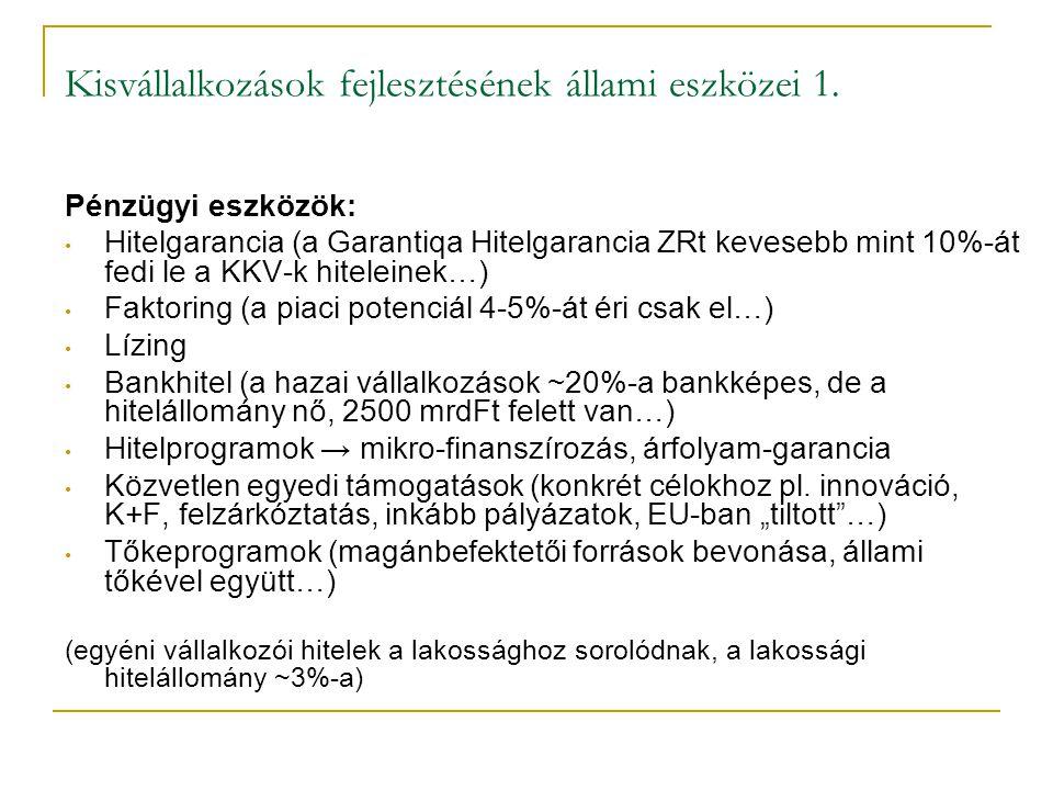 Kisvállalkozások fejlesztésének állami eszközei 1.