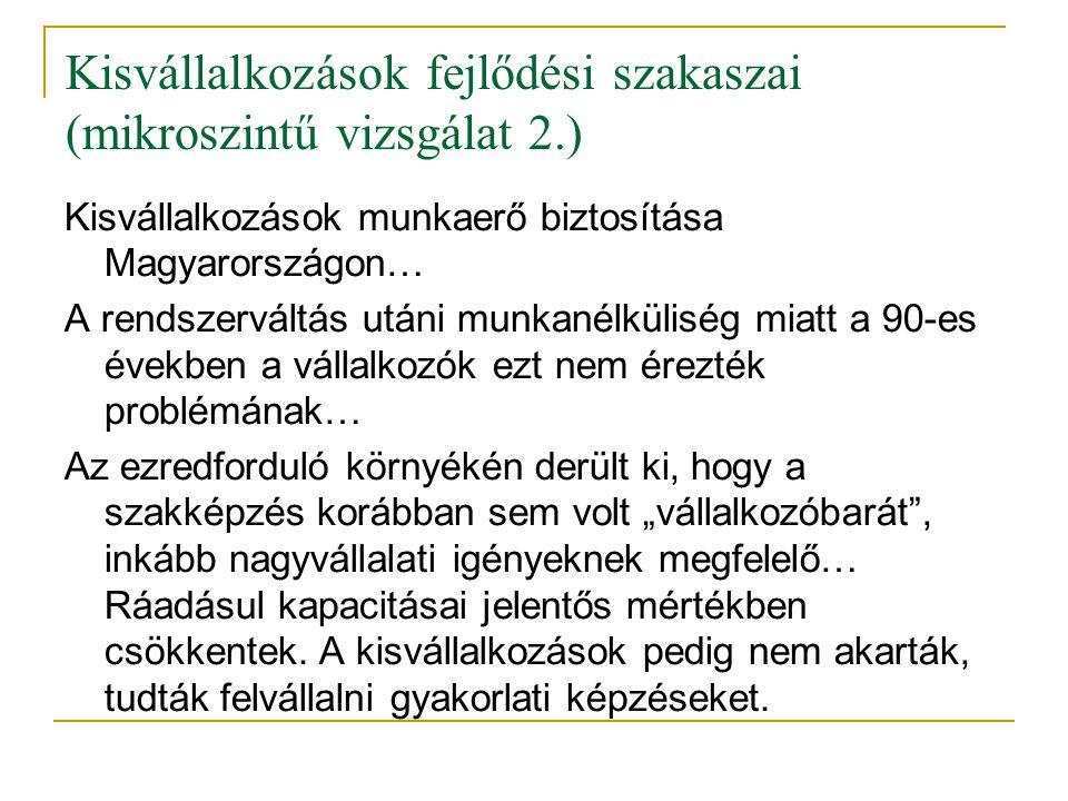 Kisvállalkozások fejlődési szakaszai (mikroszintű vizsgálat 2.)