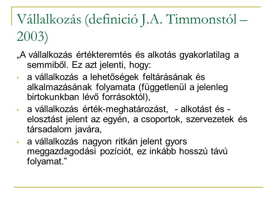 Vállalkozás (definició J.A. Timmonstól – 2003)