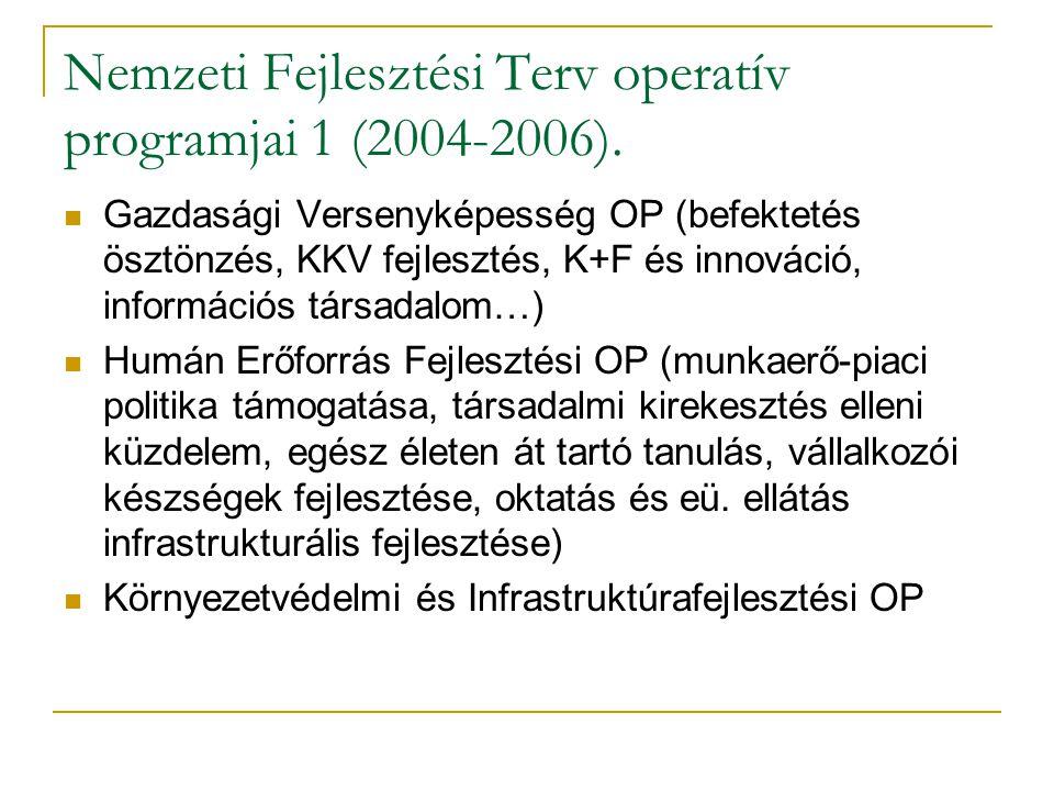 Nemzeti Fejlesztési Terv operatív programjai 1 (2004-2006).