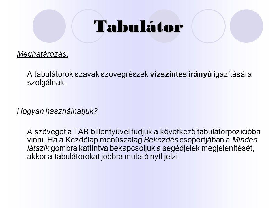 Tabulátor Meghatározás: