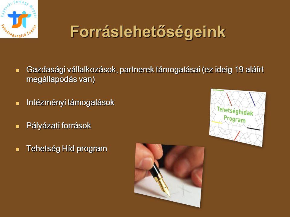 Forráslehetőségeink Gazdasági vállalkozások, partnerek támogatásai (ez ideig 19 aláírt megállapodás van)