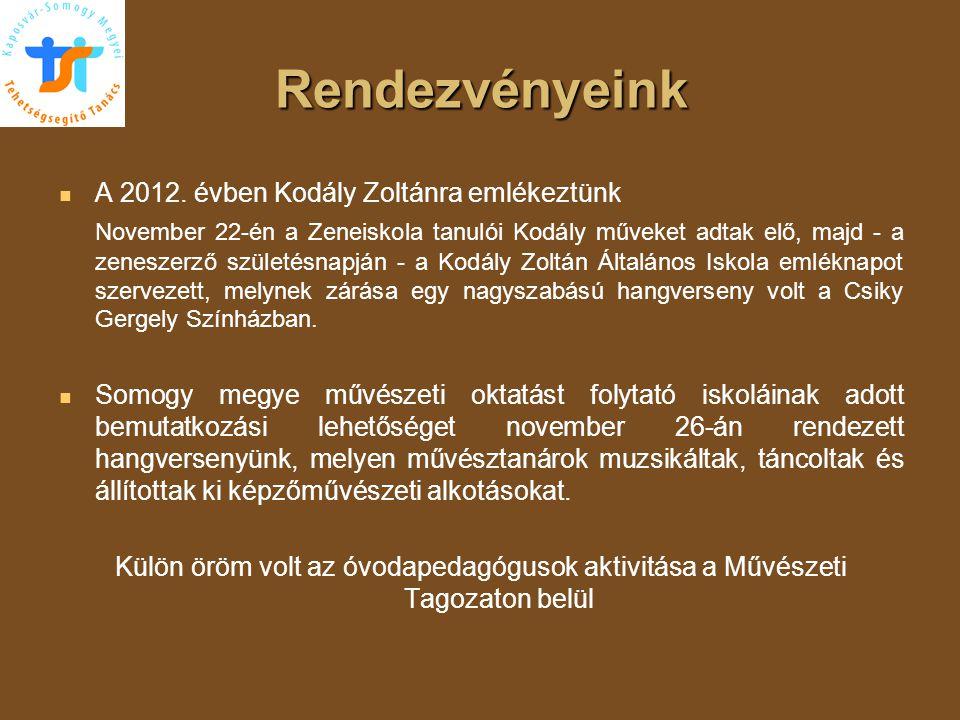 Rendezvényeink A 2012. évben Kodály Zoltánra emlékeztünk