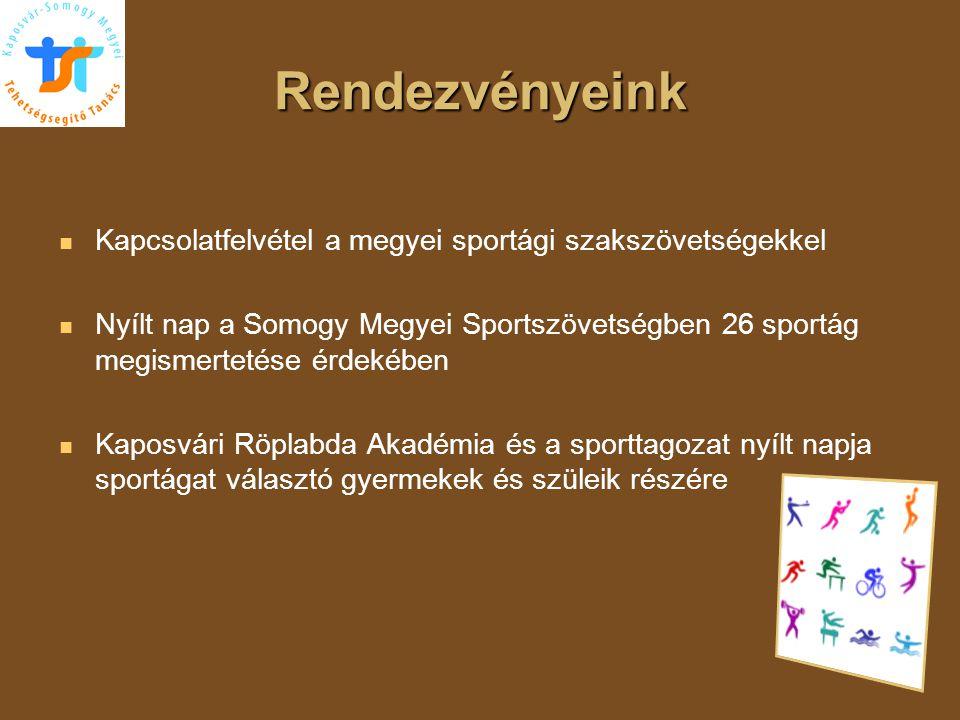 Rendezvényeink Kapcsolatfelvétel a megyei sportági szakszövetségekkel