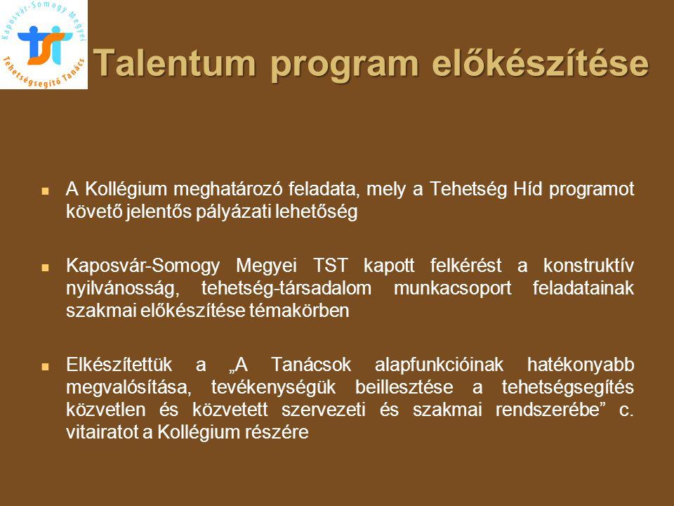 Talentum program előkészítése