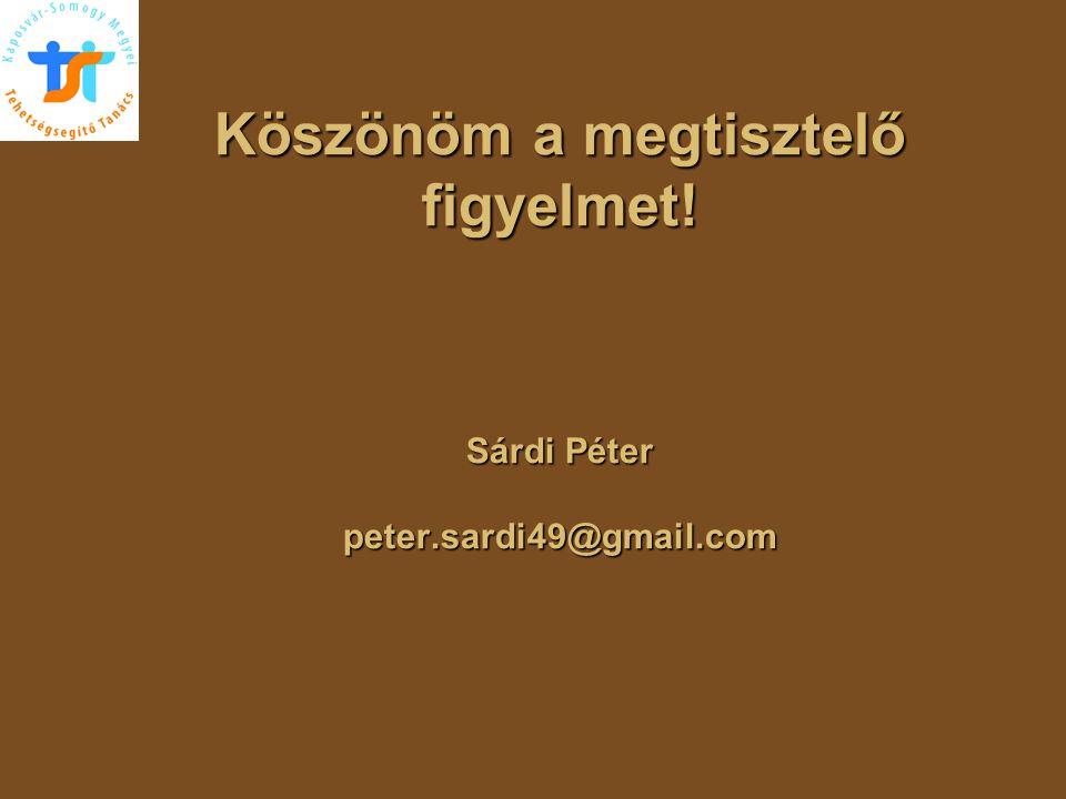 Köszönöm a megtisztelő figyelmet! Sárdi Péter peter.sardi49@gmail.com