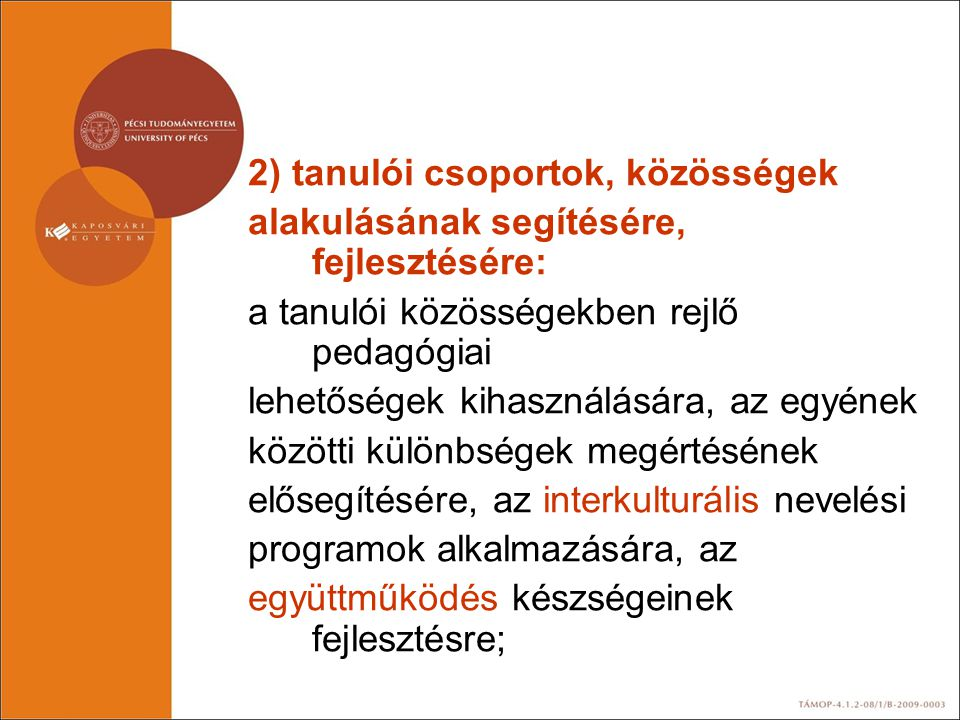 2) tanulói csoportok, közösségek